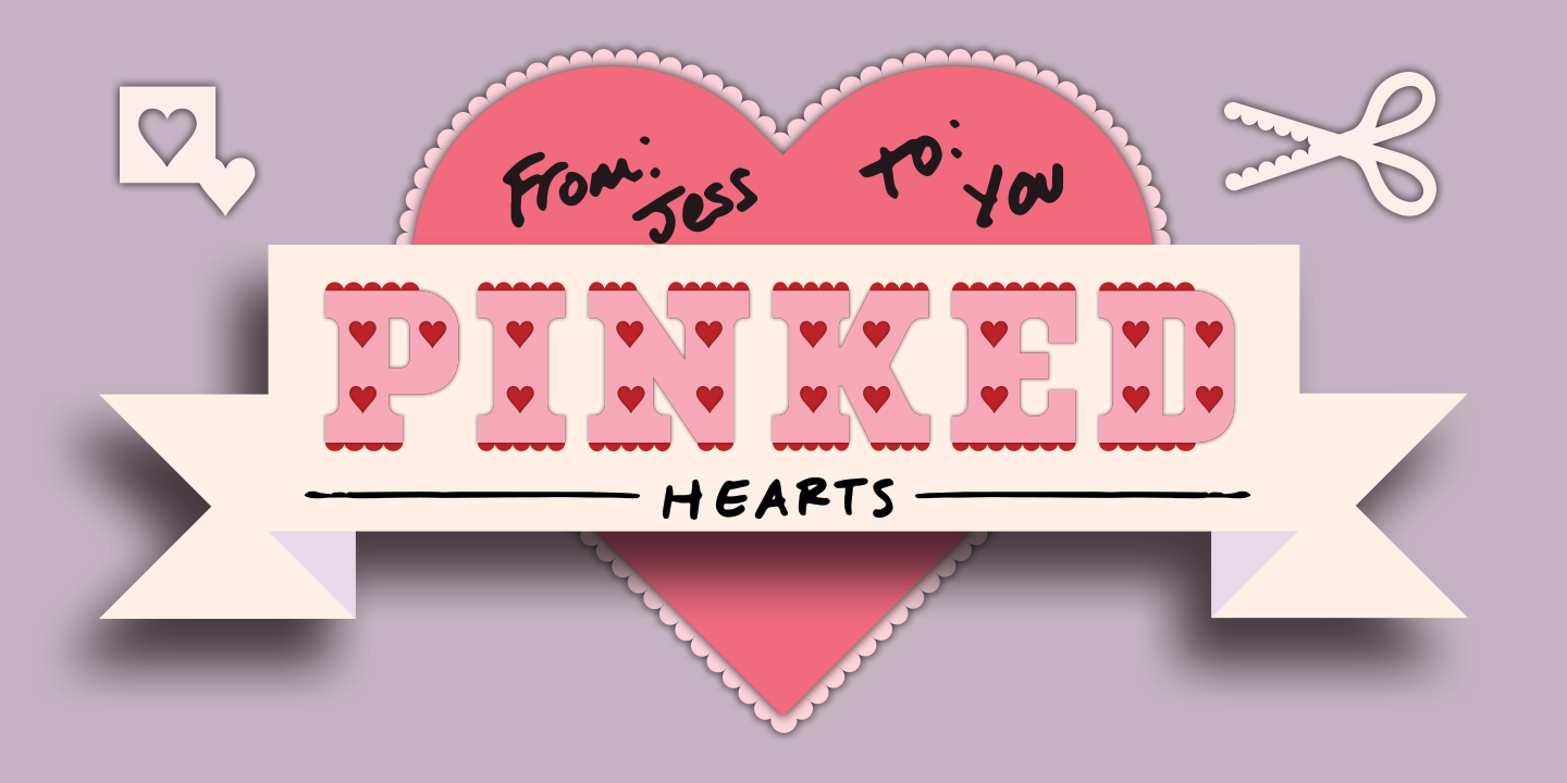 Poster displaying the Pinked Hearts typeface