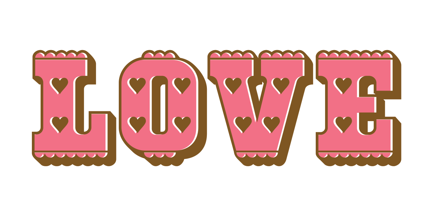 examples of the Pinked Hearts typeface