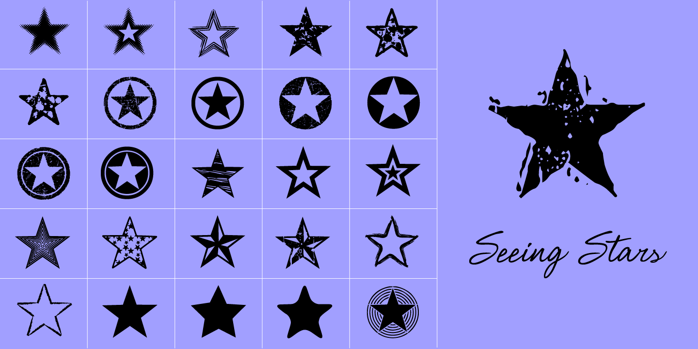 examples of the Seeing Stars typeface
