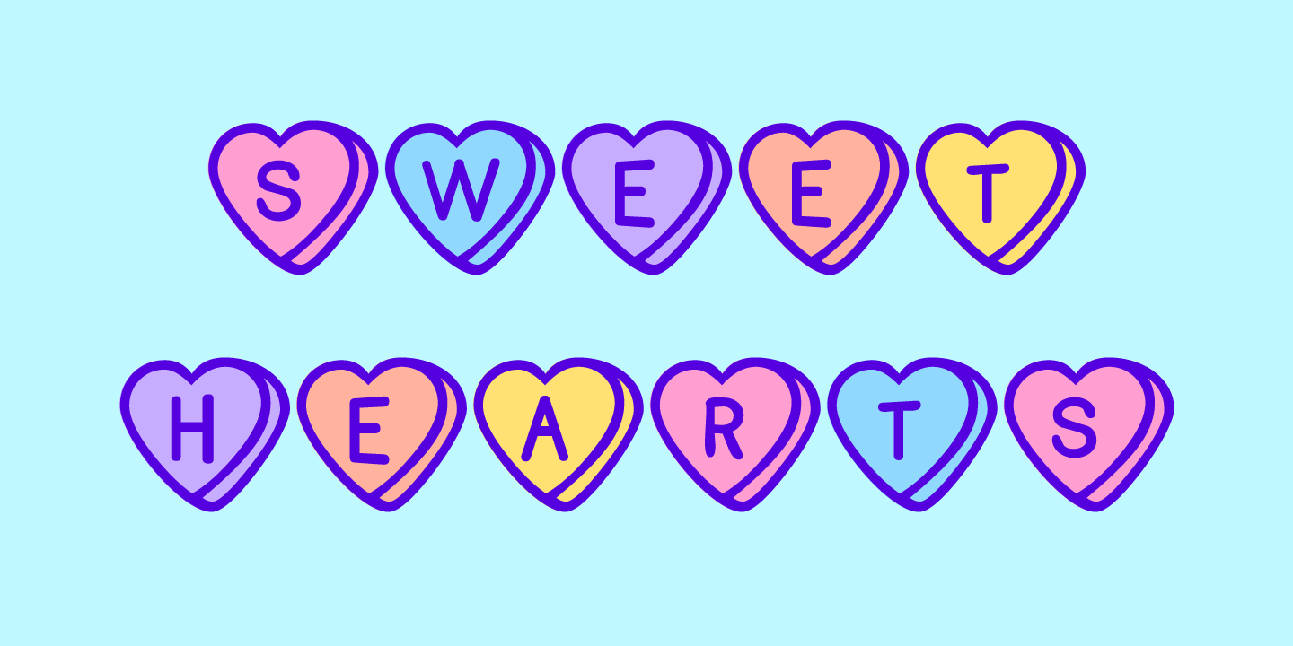 examples of the Sweet Hearts typeface
