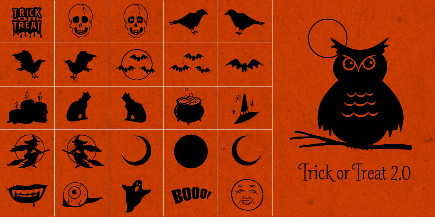 examples of the Trick Or Treat 2.0 typeface