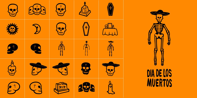 examples of the Dia De Los Muertos typeface