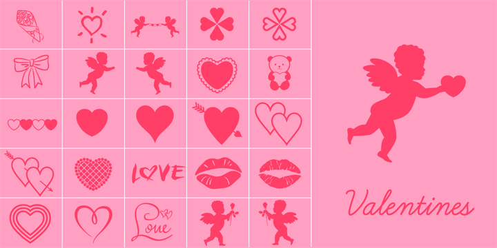 Promotional graphic for the Valentines typeface