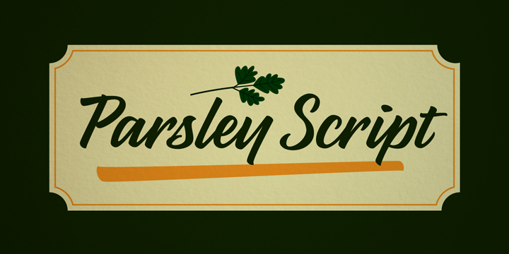 Promotional graphic for the Parsley Script typeface