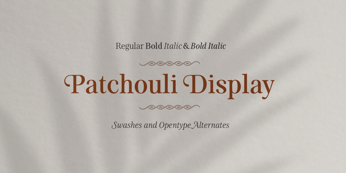 examples of the Patchouli Display typeface