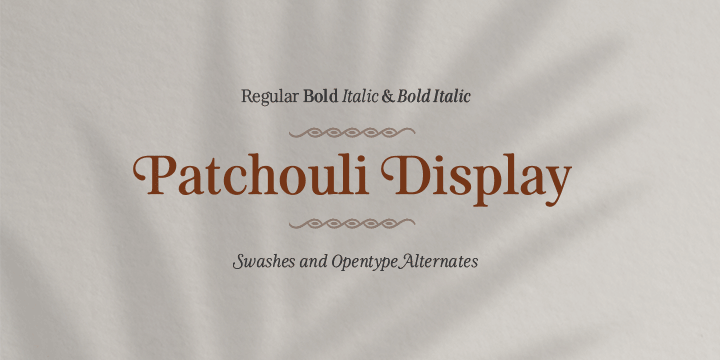 Promotional graphic for the Patchouli Display typeface