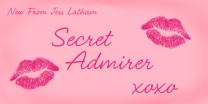 Promotional graphic for the Secret Admirer typeface