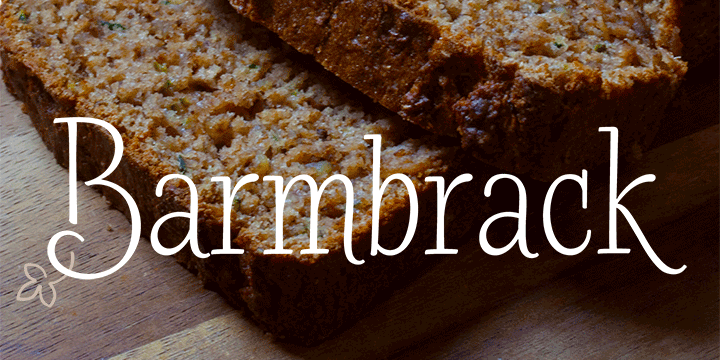 Promotional graphic for the Barmbrack typeface