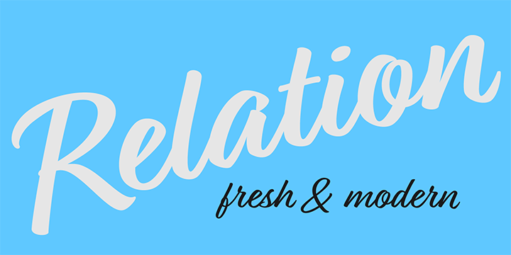 Promotional graphic for the Relation typeface