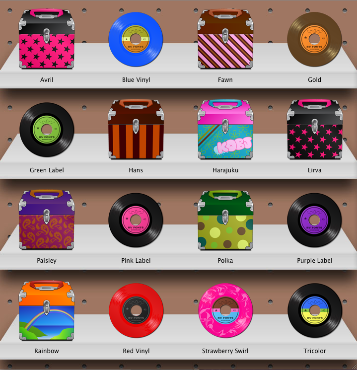 image showing the collection of records and record cases icons for windows or macintosh